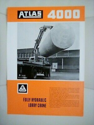 Atlas 4000 Fully Hydraulic Lorry Crane Brochure 1970