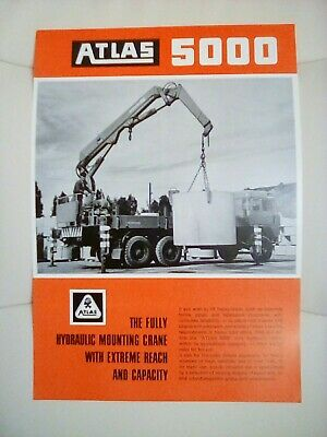 Atlas 5000 Fully Hydraulic Lorry Crane Brochure 1970