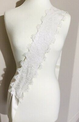 Charlie Brear Chantilly Lace Pure Silk Slipper Satin Ivory Wide Tie Bow Sash