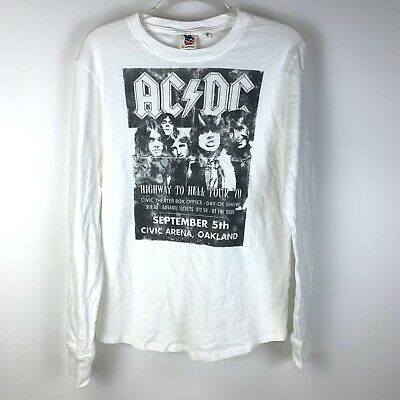 Junk Food ACDC Long Sleeve Band 79' Highway To Hell Tour Graphic T Shirt Small