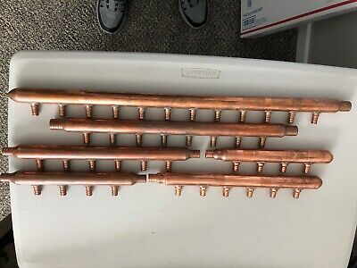 "Lot Of 6 Copper Manifolds 1"" Body 3/4"" Ends 1/2"" Ports"