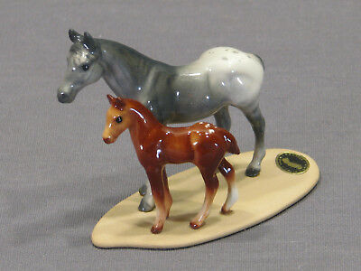 Vintage Hagen-Renaker #2010 Blanket Charcoal Appaloosa Mare and Chestnut Colt