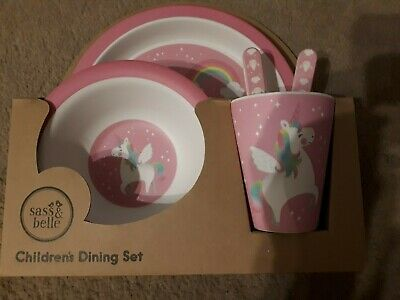 Authentic sass & belle Childrens Bamboo Dining Set Rainbow Unicorn