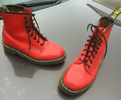 Vintage Dr Martens 1460 poppy red smooth leather boots UK 6 EU 39