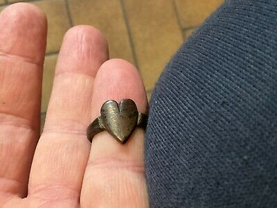 Thick Bronze Heart Ring.Age Unsure