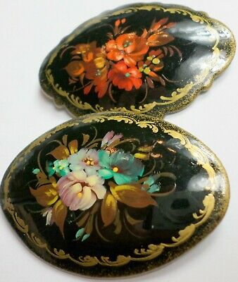 SPRING SALE Vintage Meticulously Designed Russian Lacquer Brooch Pin,Yellow Floral Medley Brooch Pi Wedding Gift Lacquer Jewelry For Her