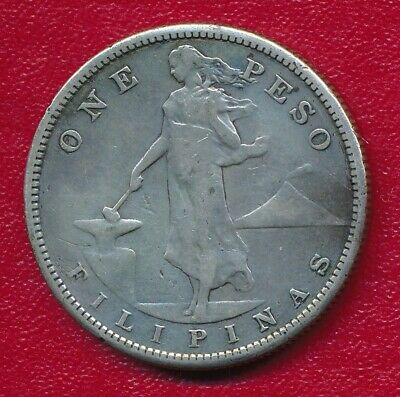 Philippines 1909-S Silver One Peso Coin **Nice Circulated**