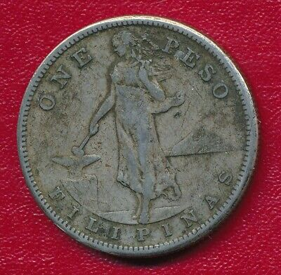 Philippines 1907-S Silver One Peso Coin **Nice Circulated**