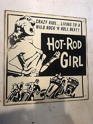 Hot Rod Girl Rock and Roll Car Old School Vintage Metal Sign