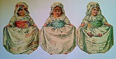 1900's Pearline Soap Advertising Trade Cards, Little Victorian Girls, Lot Of 3