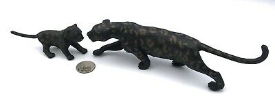AAA Vintage BLACK PANTHER & CUB CUB Spotted Baby Adult Animal Figures