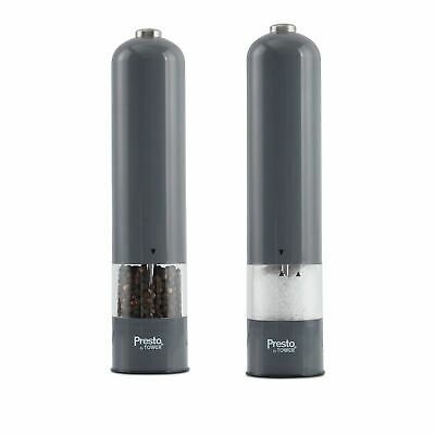 Grey Tower Ceramic Salt And Pepper Mills Grinder Table Dinner One Button Push
