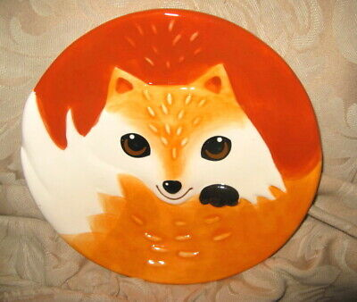 "Vintage ""Earthenware"" Glossy Ceramic Orange & White Smiling Fox~8""salad plate"
