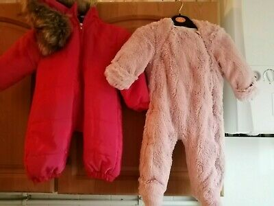2 Baby All In One Pram  Suits 6 Months Pink