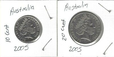 Australia Set Of(2) Coins 2005: 20 Cent, 10 Cent