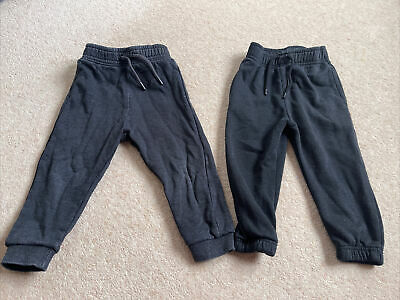 Toddler Boys 2 Pairs Of Joggers Black And Grey 18-24 Months From Tu