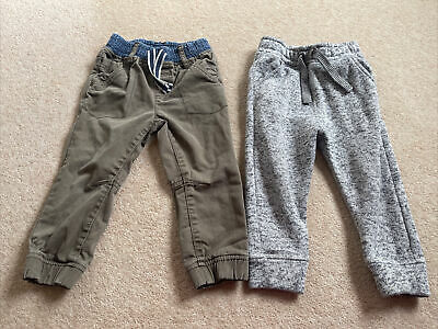 Toddler Boys 2 Pairs Of Joggers Green And Grey 18-24 Months From Tu