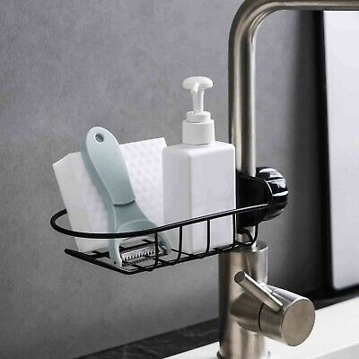 Kitchen Sink Caddy Sponge Holder, Bathroom Metal Organizer Liquid Drainer Faucet