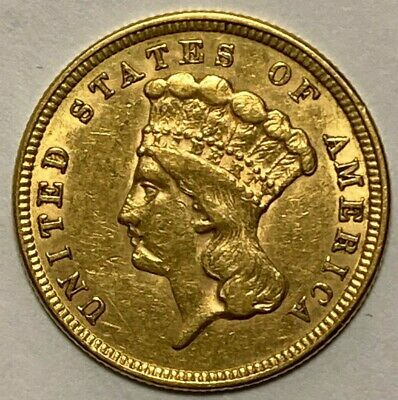 1854 Extra Fine XF Indian Princess Three Dollar Gold Coin $3