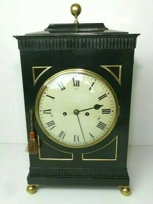 Georgian Chamfer Top 1810 Engraved Backplate English Fusee 8 Day Bracket Clock