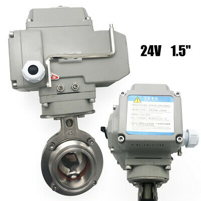"""Electric Motorized Butterfly Valve Dry Contact 1.5"""" 38mm Stainless Steel"""