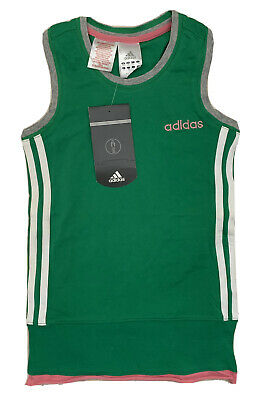 Bnwt Brand New Girls Adidas Top Vest T-shirt age 11-12 years green grey pink