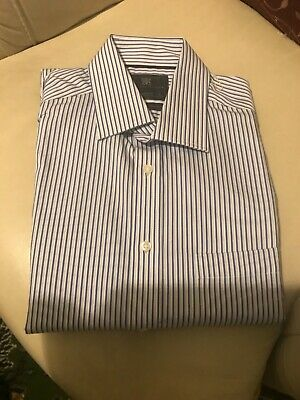 "M&S Mens Pure Cotton Blue Striped Shirt 41cm 16""  BNWT"