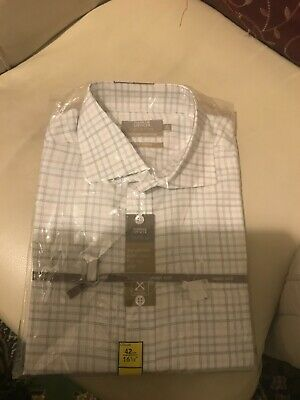 M&S Mens Cotton Rich Non Iron White Check Shirt 42cm 16 1/2 BNWT