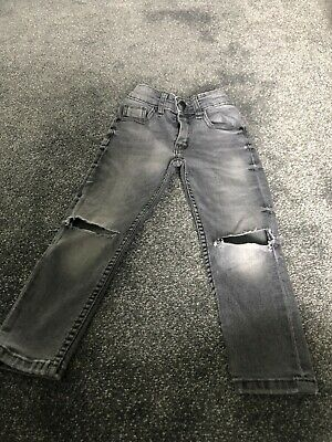 Next Boys Black Skinny Ripped Knee Jeans Age 4 Years Excellent Condition