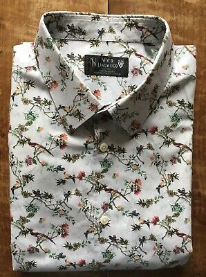 "NEW & LINGWOOD patterned cotton shirt. 17.5"". Excellent, hardly-used condition"