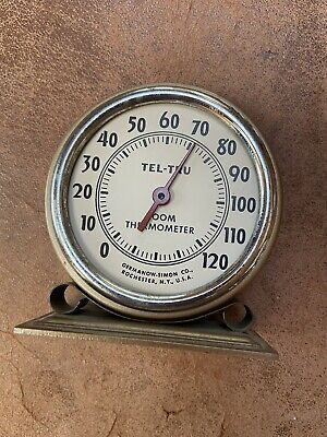 Vintage Metal Tel-Tru Room Thermometer Germanow Simon Rochester NY Desk Or Wall