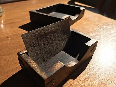 2 piece set Rustic Wood Notebook And Business Card Desk Set