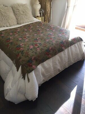 Vintage Antique Roses Tapestry Throw Spread Coverlet Fringed