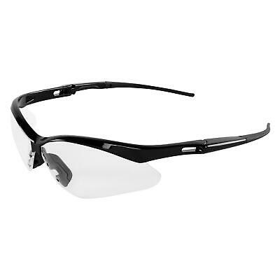 Safety Glasses Black Frame with Neck Cord, Scratch Resistant Clear Lens Z87.1