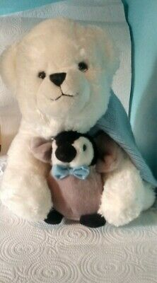 """Bearington St. Jude Toby and Tux 12"""" Sitting Plush Bear and Penguin A7"""