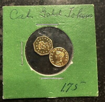 Two 1853 California Gold Tokens 13 Stars Round Octagonal
