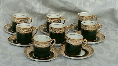 Spode copeland vintage demattesa cups and saucers 16 Pieces in Bottle Green and
