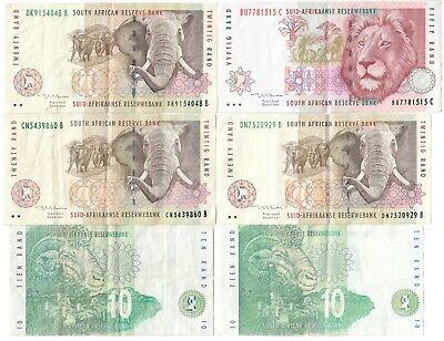 SOUTH AFRICA Rand Currency 6 Note Lot - 50 x 1, 20 x 3, 10 x 2 - Lion 1999 +++