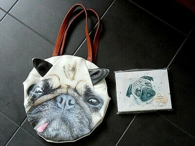 Pug Bag & New Pug Canvas Painting in Frame
