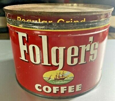 VINTAGE 1952 FOLGER'S 1 LB COFFEE TIN CAN With  Lid And Sailing Ship