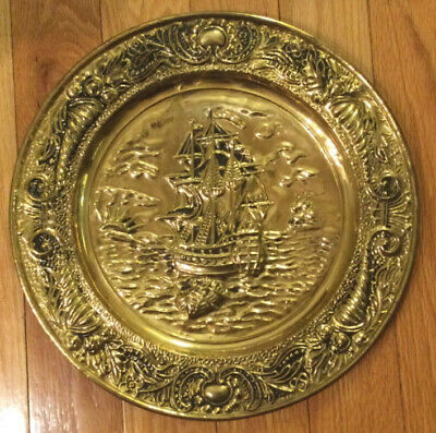 """Vintage Big Brass Wall Plate 14""""  Repousse Colonial Ship Decor Nautical Scene"""