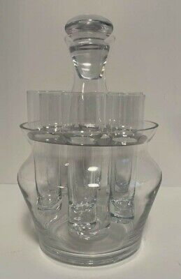 Six Highball Shot Glass Caddy / Decanter with Ice Bowl Bottom ~ Clear Glass Set