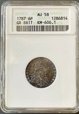 1787 Great Britain Six Pence 6 Pence Coin KM-606.1 ANACS AU58 (PL)