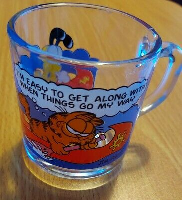 "Vintage Garfield Glass Mug ""I'm Easy To Get Along with When Things Go my Way"""