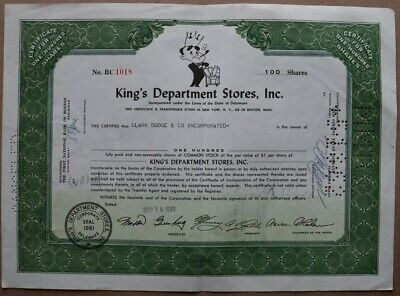 King's Department Stores, Inc. Stock certificate 1961 - Series: BC 1018