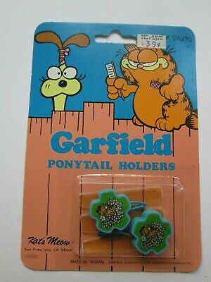 Vintage Nos Garfield Ponytail Holders Kat's Meow Garfield The Cat With Flowers C