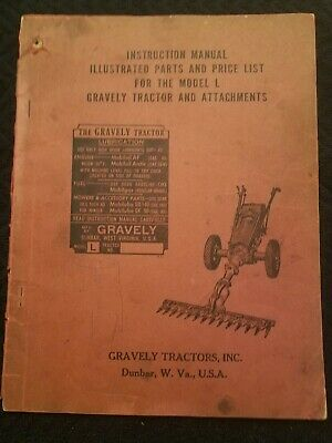 """GRAVELY Model """"L"""" Instruction Manual, March 1,1953 Original Parts & Price """"RARE"""""""