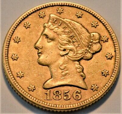 1856 $5 Gold Liberty Half Eagle, Higher Grade Better Early Date Five Dollar Coin
