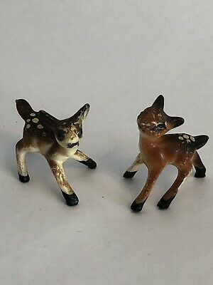 """VTG Pair 2 Deer Spotted Fawns Mini Figurines Early Plastic Well Loved 1"""" 50's?"""