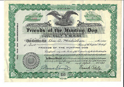 NEW JERSEY 1923 Friends of the Hunting Dog Stock Certificate Medford